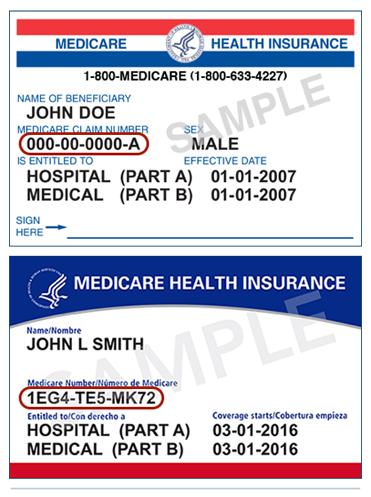Image of a Medicare card with Medicare Claim Number circled